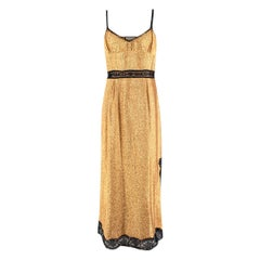 Gucci Gold Lame Lace trimmed Slip Dress - Us size 8