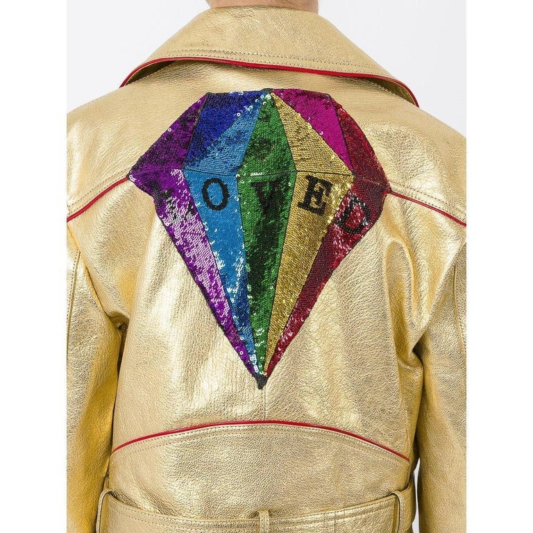 Gucci Gold Leather Biker Jacket with Sequin Embroidery IT40 US 2-4 In New Condition For Sale In Brossard, QC