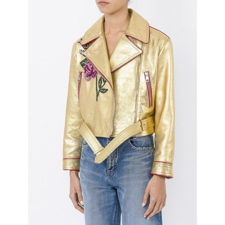 Women's Gucci Gold Leather Biker Jacket with Sequin Embroidery IT40 US 2-4 For Sale