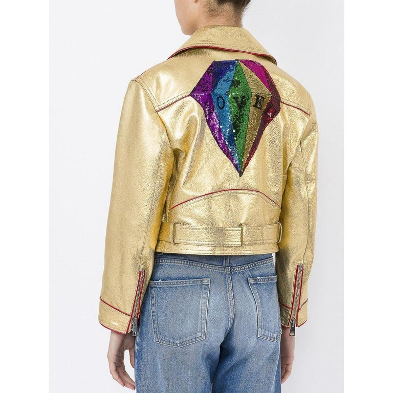 Gucci Gold Leather Biker Jacket with Sequin Embroidery IT40 US 2-4 For Sale 1