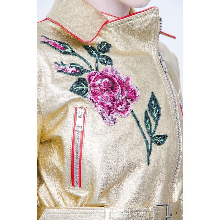 Gucci Gold Leather Biker Jacket with Sequin Embroidery IT40 US 2-4 For Sale 2