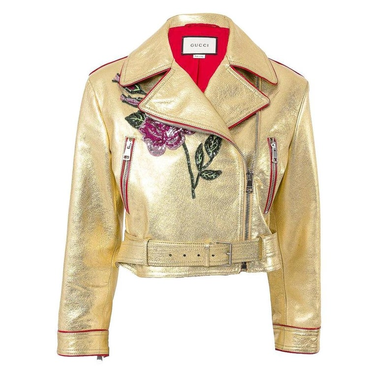 Gucci Gold Leather Biker Jacket with Sequin Embroidery IT40 US 2-4 For Sale