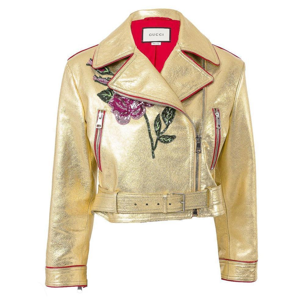a2bab9fff Gucci Gold Leather Biker Jacket with Sequin Embroidery IT40 US 2-4 For Sale  at 1stdibs