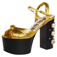 Gucci Gold Leather Knot Pearl Platform Sandals Size 36