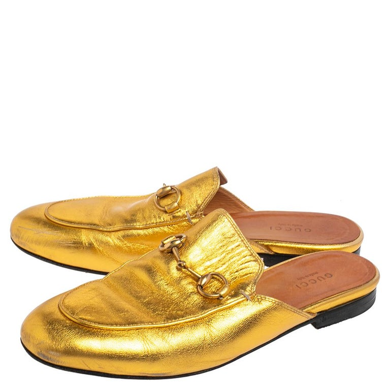 Brown Gucci Gold Leather Princetown Mule Flats Size 37.5 For Sale