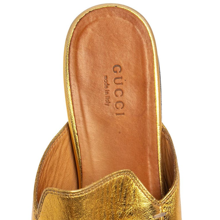 Gucci Gold Leather Princetown Mule Flats Size 37.5 For Sale 1