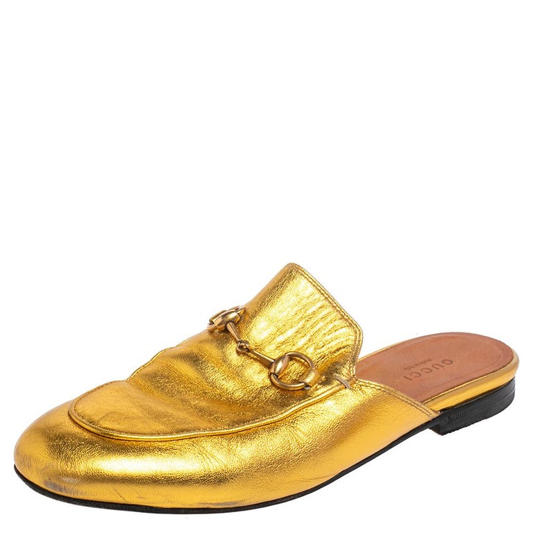 Gucci Gold Leather Princetown Mule Flats Size 37.5 For Sale 2