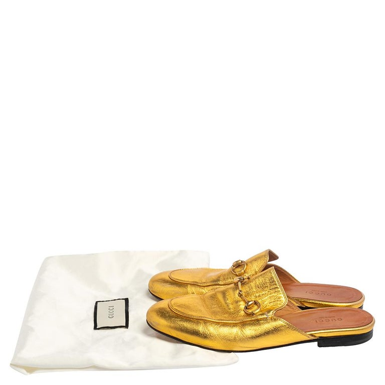 Gucci Gold Leather Princetown Mule Flats Size 37.5 For Sale 3