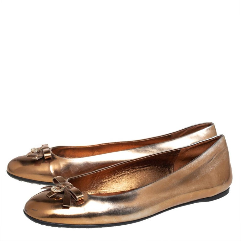 Brown Gucci Gold Leather Slip on Bow Ballet Flats Size 39 For Sale