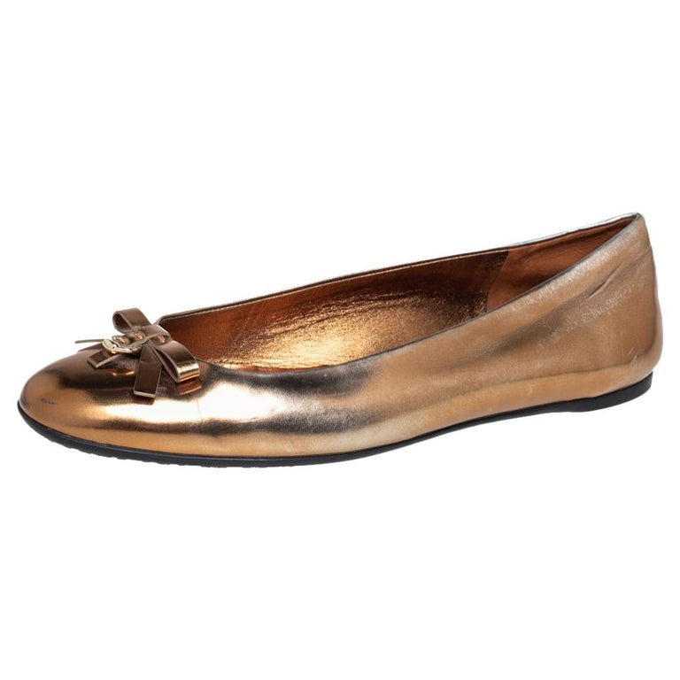 Gucci Gold Leather Slip on Bow Ballet Flats Size 39 For Sale
