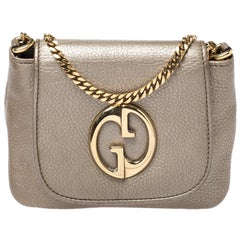 Gucci Gold Leather Small 1973 Chain Crossbody Bag