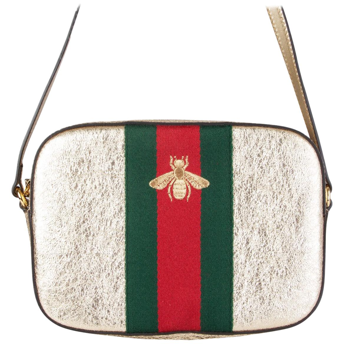 GUCCI gold leather WEBBY BEE Crossbody Shoulder Bag