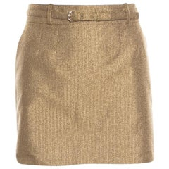 Gucci Gold Lurex Knit Belted Mini Skirt M