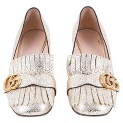 Gucci Gold Marmont Fringe Double G Pumps Shoes