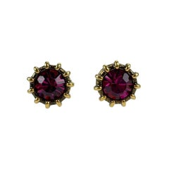 Gucci Gold Metal Pink Crystal Round Stud Earrings Never Worn