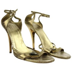 f884cd00403 Gucci Gold Metallic Ankle Strap Heeled Sandals with Lbslm85 Bronze Pumps