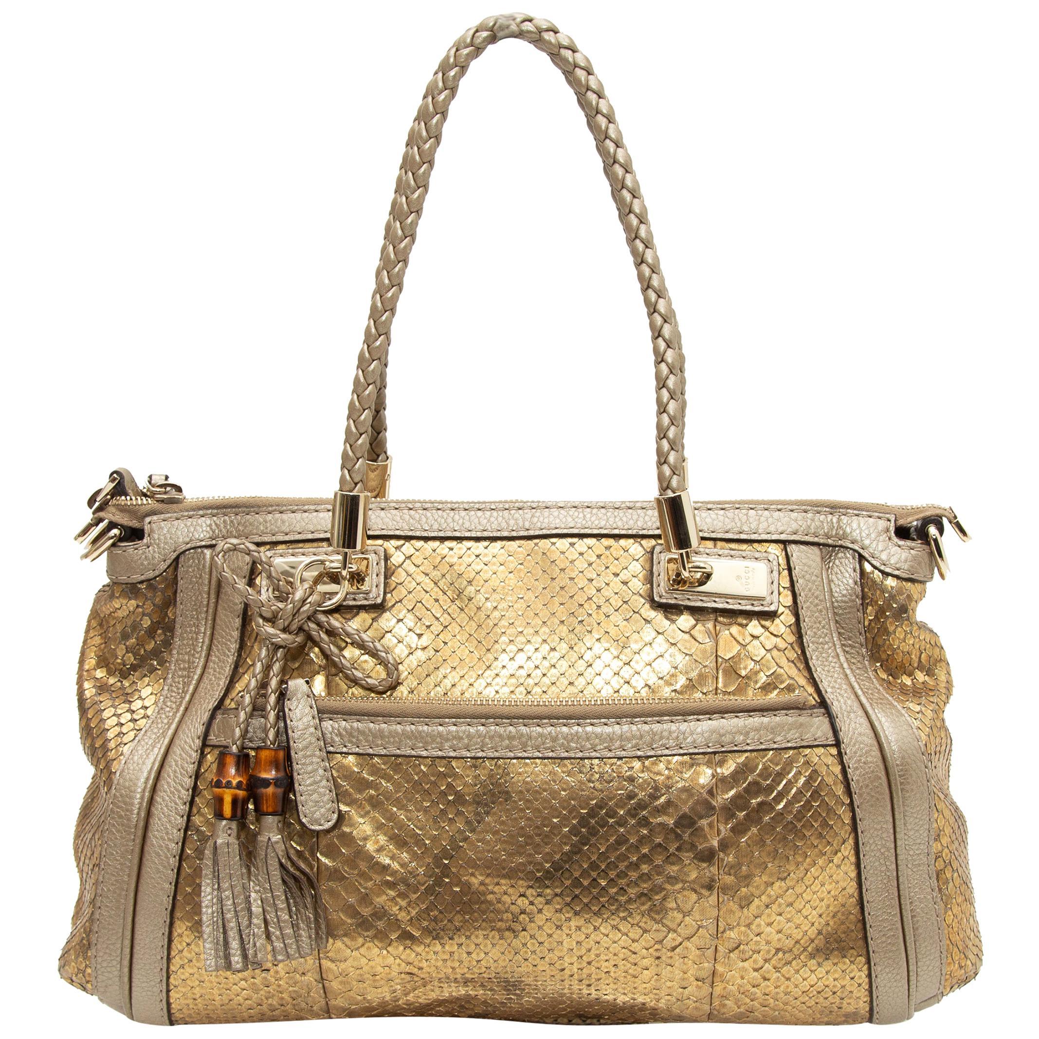 Gucci Gold Metallic Bella Python Handbag