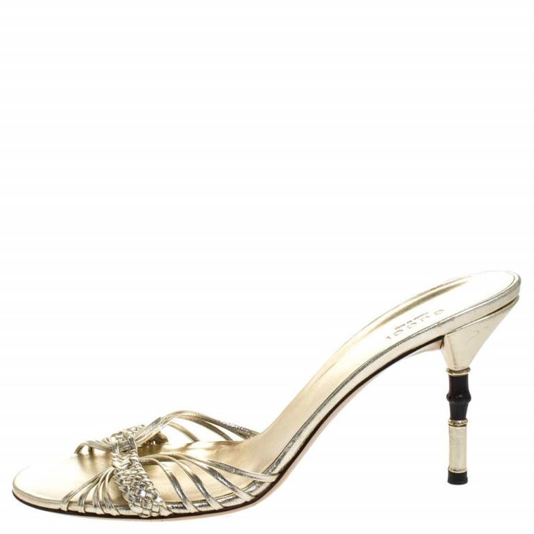 Gucci Gold Metallic Braided Leather Bamboo Heel Sandals Size 41 For Sale 1