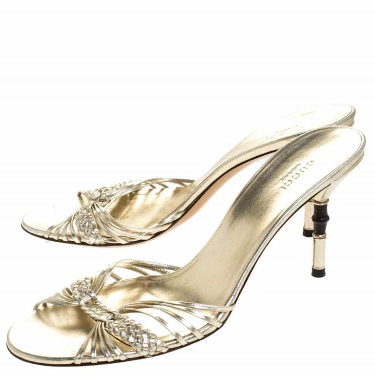 Gucci Gold Metallic Braided Leather Bamboo Heel Sandals Size 41 For Sale 2