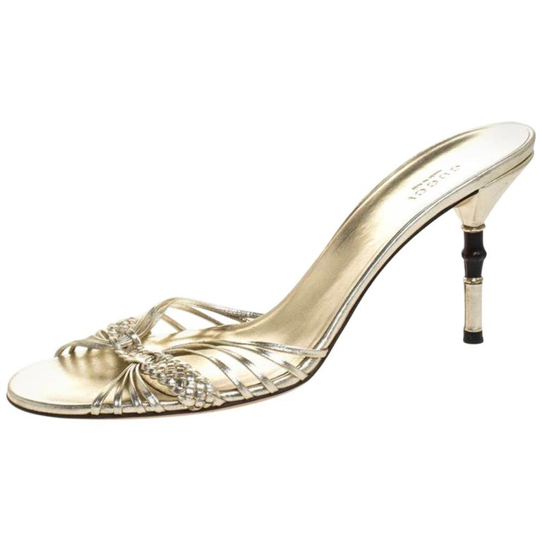 Gucci Gold Metallic Braided Leather Bamboo Heel Sandals Size 41 For Sale