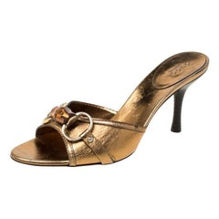 Gucci Gold Metallic Leather Bamboo Horsebit Open Toe Slides Size 36