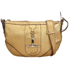 Gucci Gold Metallic Leather Horsebit Crossbody