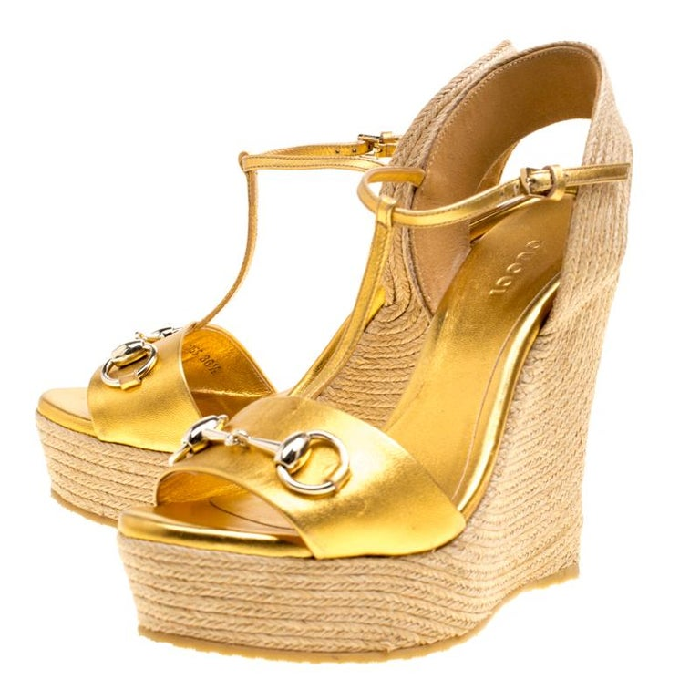 f1e5981a69f Gucci Gold Metallic Leather Horsebit T-Strap Espadrille Wedge Sandals Size  36.5 For Sale 1