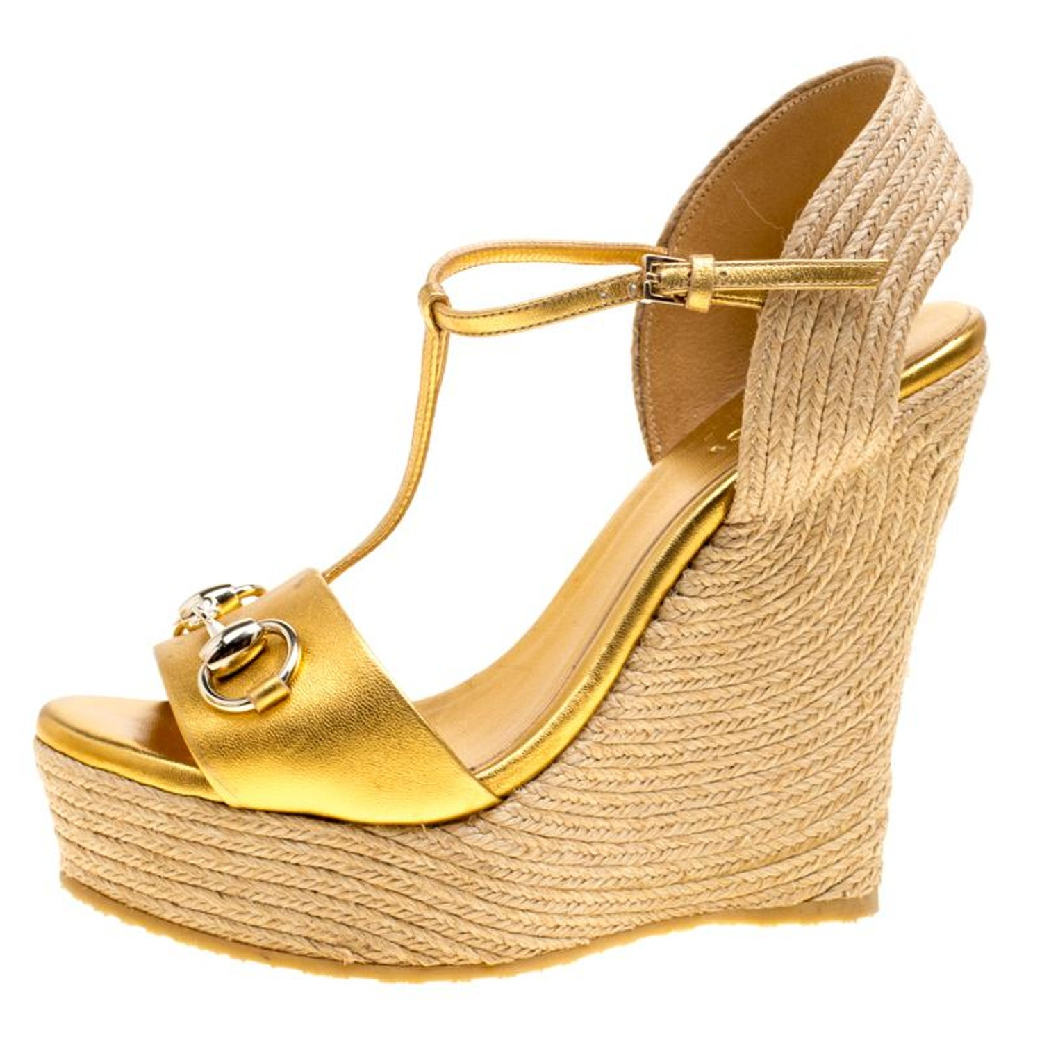 653d3a96bc2 Gucci Gold Metallic Leather Horsebit T-Strap Espadrille Wedge Sandals Size  36.5 at 1stdibs