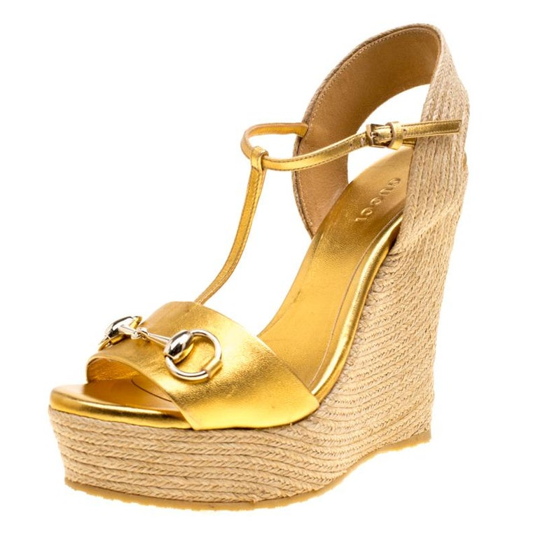 7b8503f07 Gucci Gold Metallic Leather Horsebit T-Strap Espadrille Wedge Sandals Size  36.5 For Sale