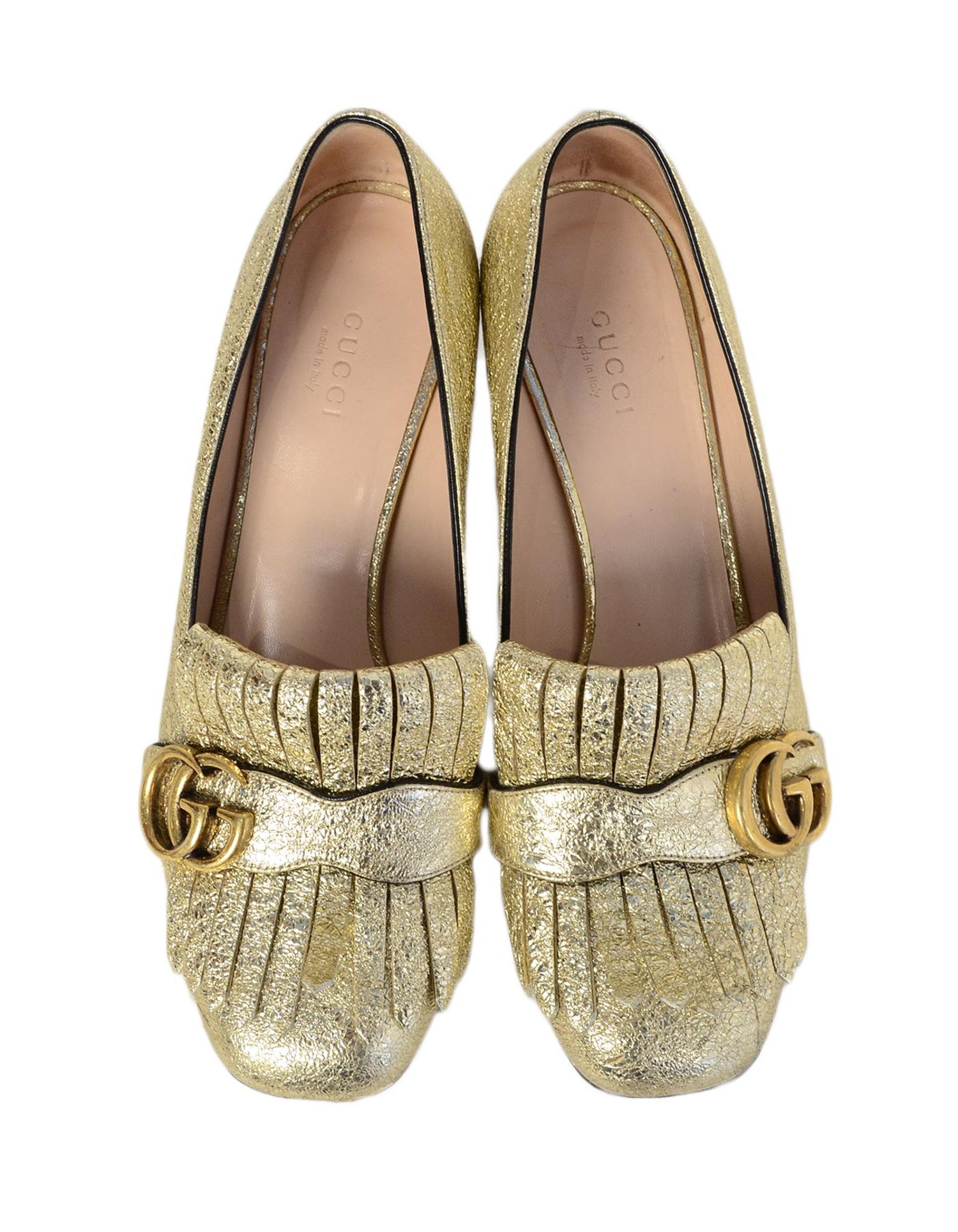 088ec6453 Gucci Gold Metallic Leather Marmont Kiltie Fringe Loafer Heels Sz 38.5 For  Sale at 1stdibs