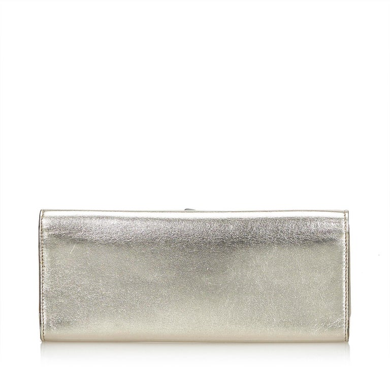 10096a421ae80e Gray Gucci Gold Metallic Leather Romy Clutch Bag For Sale