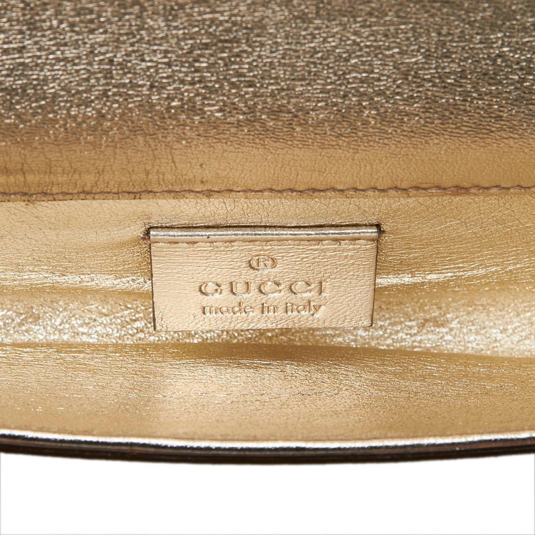 51dad47c6b8486 Women's Gucci Gold Metallic Leather Romy Clutch Bag For Sale