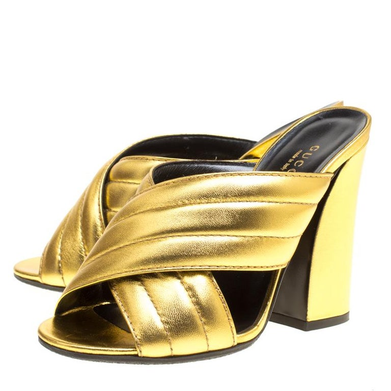 be8e654e2 Gucci Gold Metallic Leather Sylvia Crossover Mules Size 37 For Sale 3