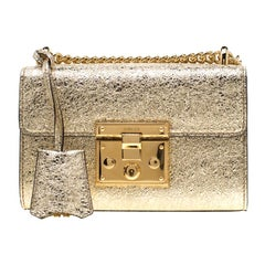 Gucci Gold Metallic Textured Leather Small Padlock Shoulder Bag