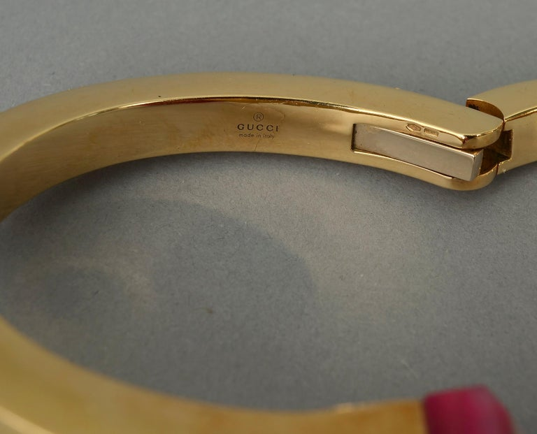 Gucci Gold Nail Bracelet with Pink Agate For Sale 1