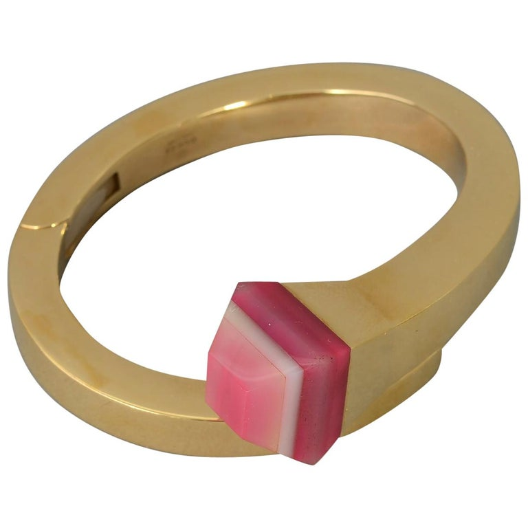 Gucci Gold Nail Bracelet with Pink Agate For Sale