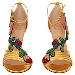 Gucci  Gold Ophelia Floral Embroidered Sandals