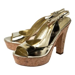 Gucci Gold Patent Leather Cork Platform Peep Toe Slingback Sandals Size 37
