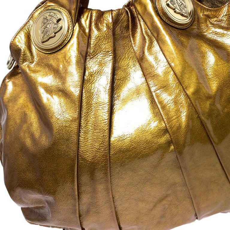 Gucci Gold Patent Leather Large Hysteria Hobo For Sale 7