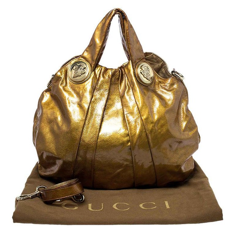 Gucci Gold Patent Leather Large Hysteria Hobo For Sale 8