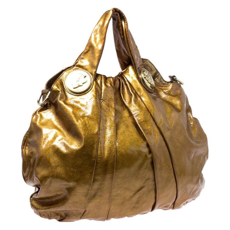 Women's Gucci Gold Patent Leather Large Hysteria Hobo For Sale