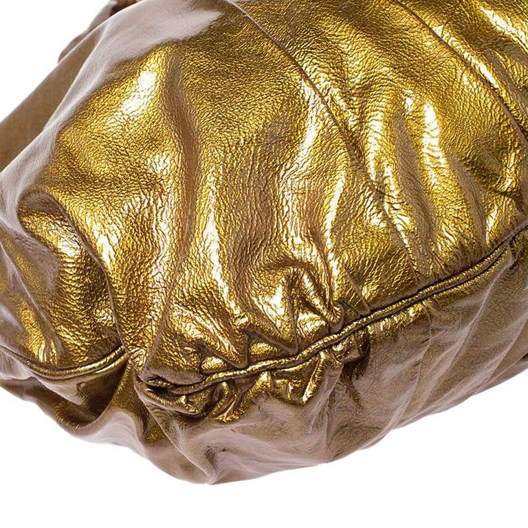 Gucci Gold Patent Leather Large Hysteria Hobo For Sale 3