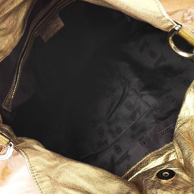 Gucci Gold Patent Leather Large Hysteria Hobo For Sale 4