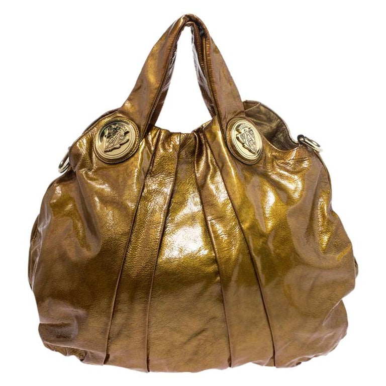 Gucci Gold Patent Leather Large Hysteria Hobo For Sale