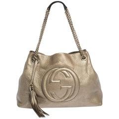 Gucci Gold Pebbled Leather Medium Soho Tote