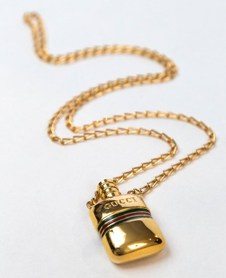 Gucci Gold Perfume Necklace For Sale 2