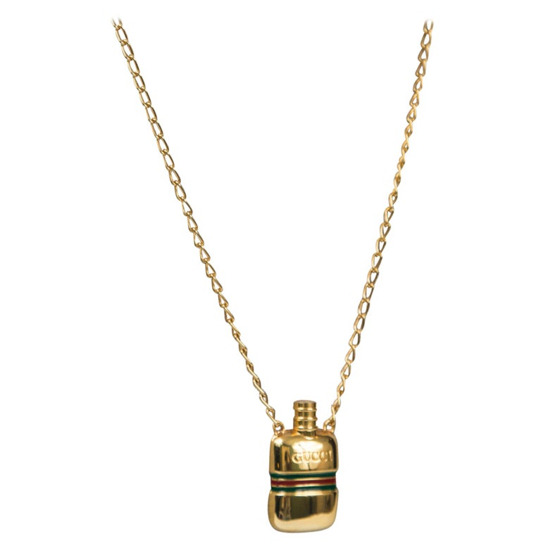 Gucci Gold Perfume Necklace For Sale
