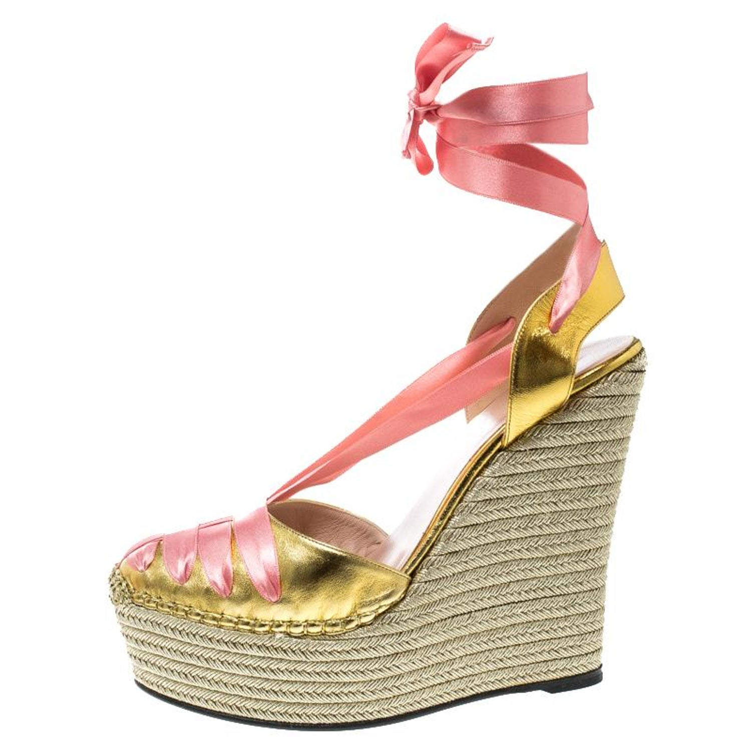1ecf6597f5c Gucci Gold Pink Leather and Satin Alexis Wrap Platform Wedge Sandals Size  39 For Sale at 1stdibs