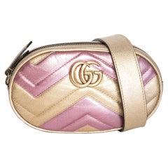 Gucci Gold Pink Metallic GG Marmont Belt bag
