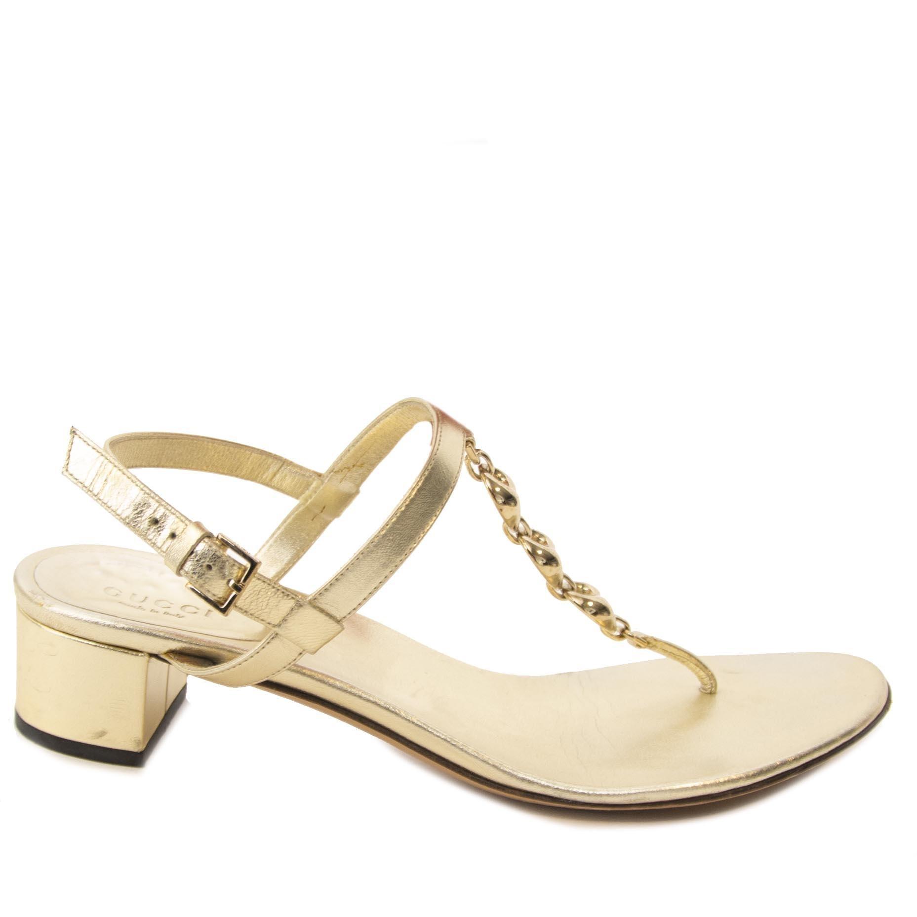 0f31434814e Gucci Gold Sandals - Size 37